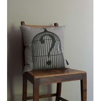 CAGED QUESTION MARK CUSHION