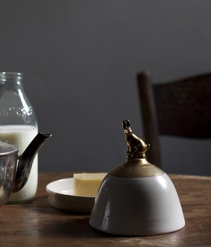 GOLD AND HARE BUTTER DISH